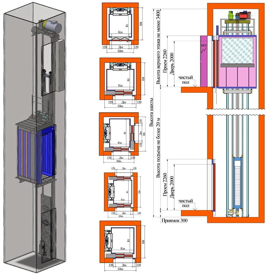 Лифт электрический с верхним машинным помещением ВМП-1