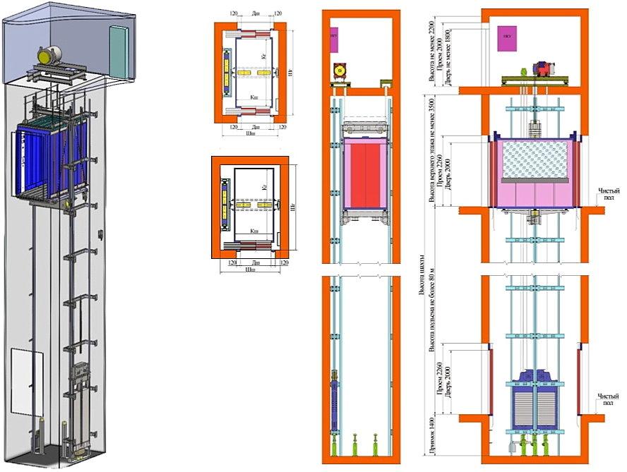 Лифт электрический с верхним машинным помещением ВМП-2